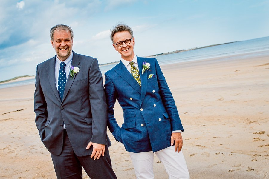 Brides brothers on Beadnell Bay in Northumberland