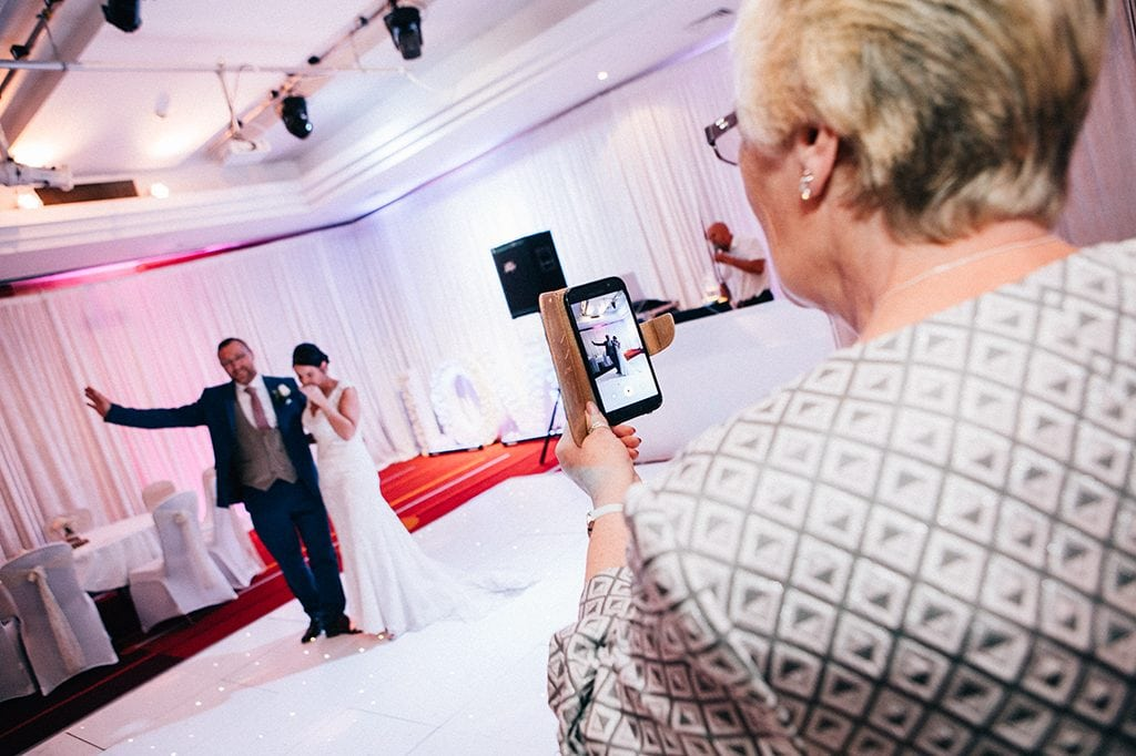 Mum filming the first dance, Grand Hotel Gosforth Park Newcastle