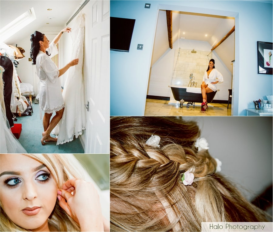 Montage of Bride in the morning & brides maid getting ready