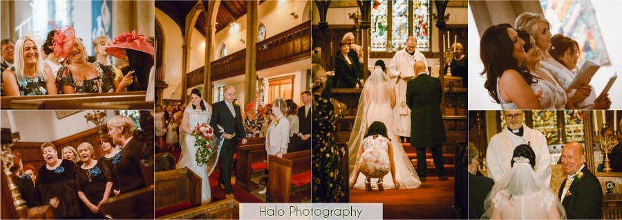 Montage of wedding service at St. Andrews Church in Lamesley , Lowfell.