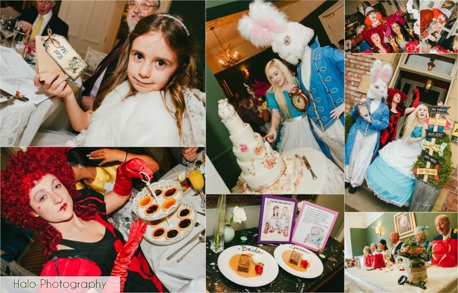 Montage of Alice in Wonderland Themed Wedding Breakfast at Eslington Villa