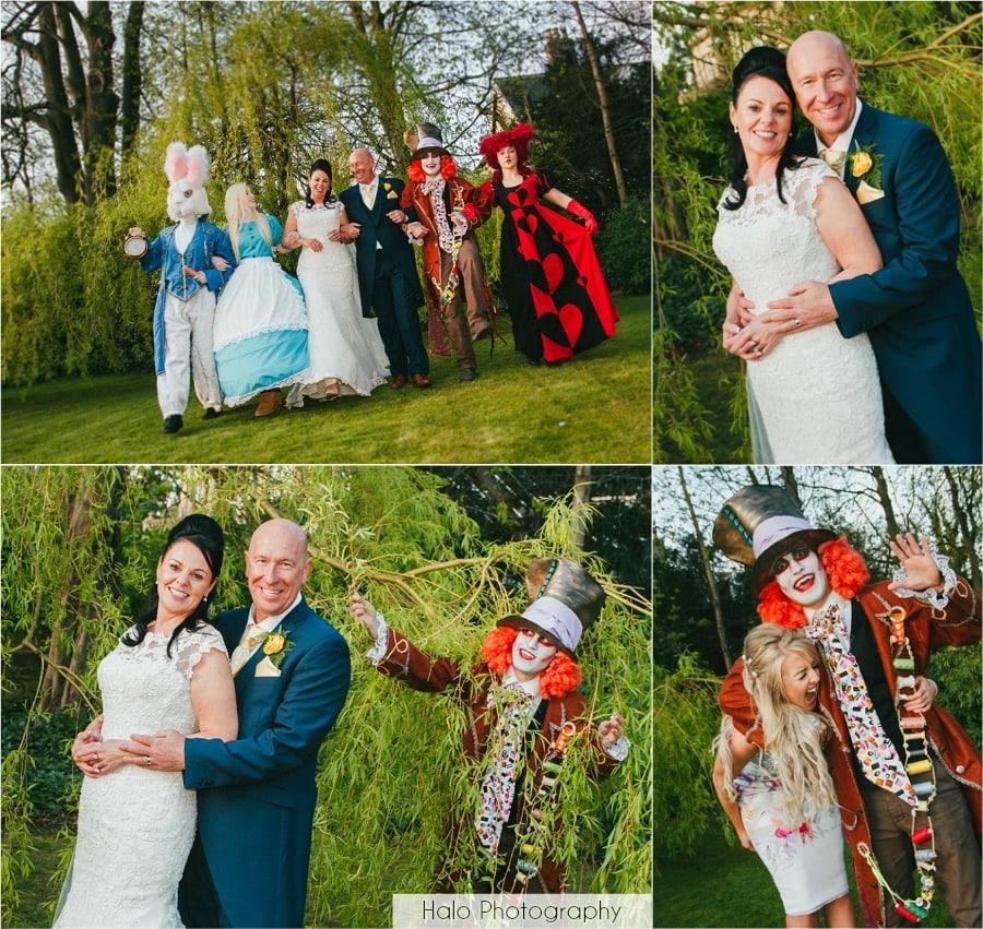 Bride & Groom with Alice in Wonderland Characters at Eslington Villa