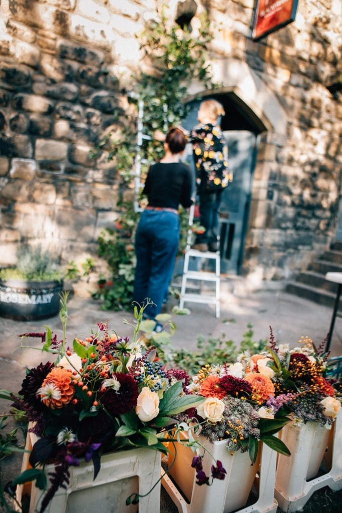 Floral Wedding arch & flowers for the wedding reception from Northumbrian Flowers
