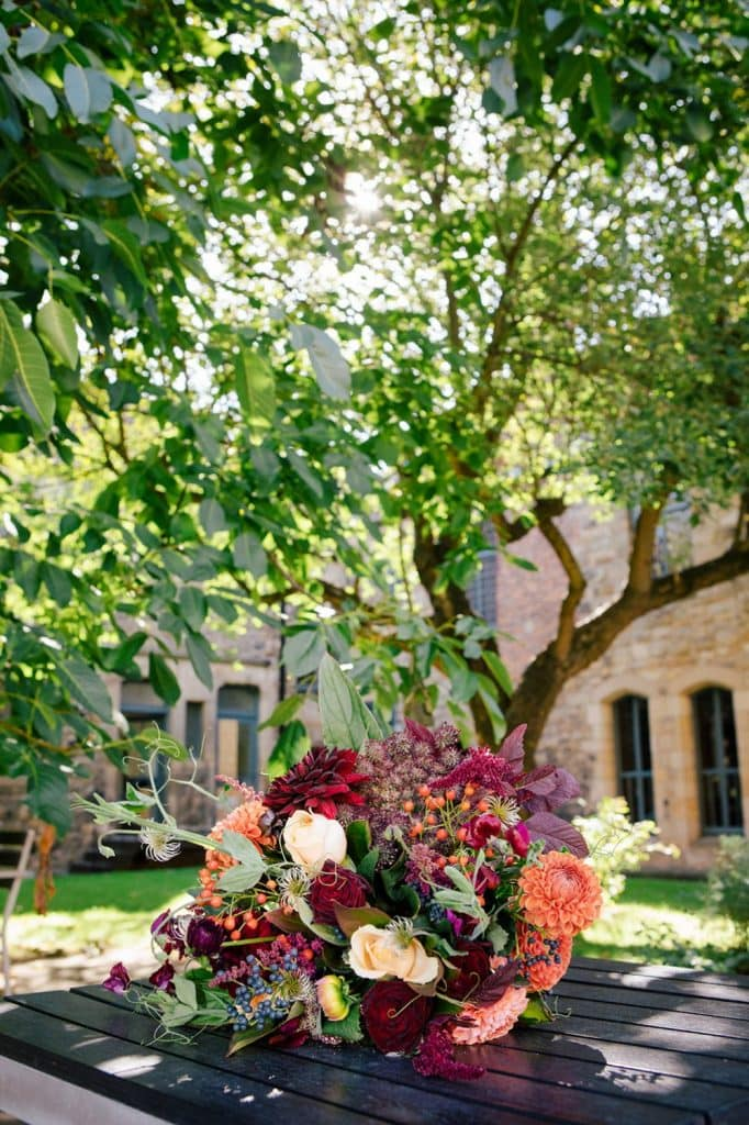 A brides wedding bouquet in the courtyard of Blackfriars in Newcastle