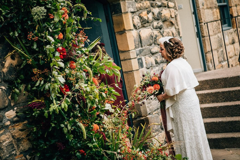 Bride & Father waiting to enter service at Blackfriars in Newcastle