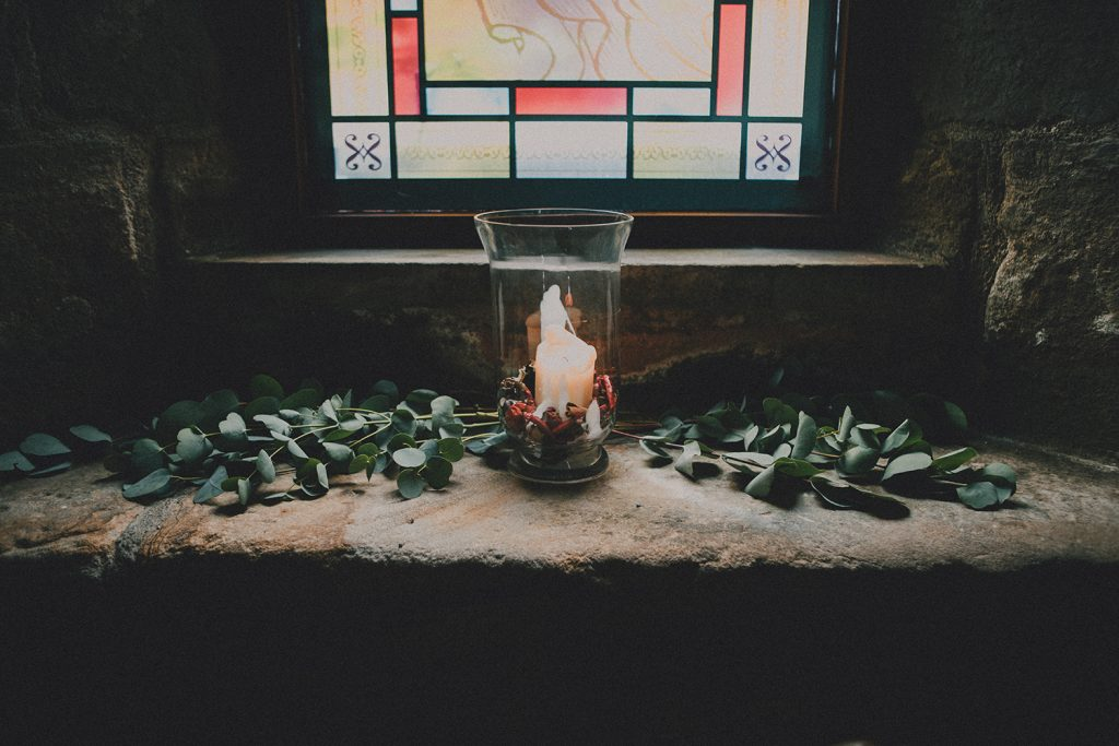 Foliage & Candle on the windows of the Banquet Hall of Blackfriars in Newcastle