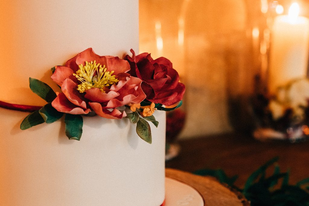 Close up of a wedding cake at Blackfriars in Newcastle