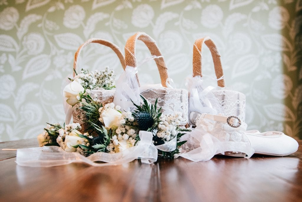 Bridesmaids Wedding flowers baskets & shoes beforeThe Roker Hotel in Sunderland