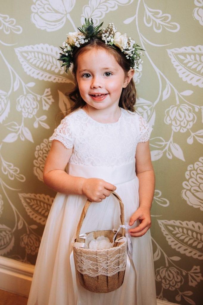 Flowergirl with her basket before The Roker Hotel in Sunderland