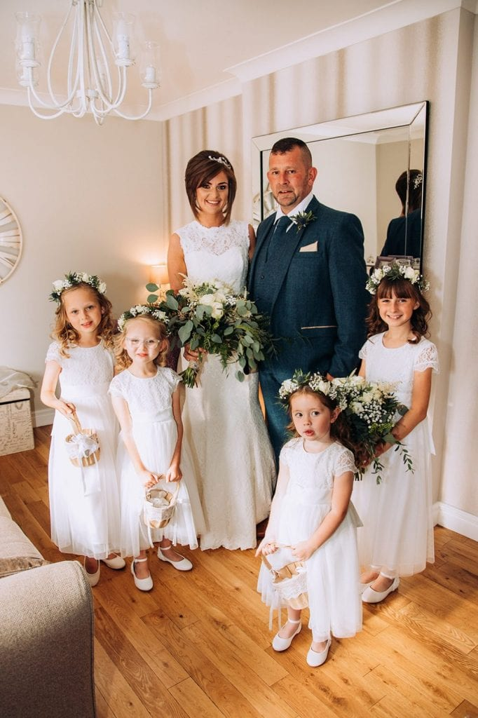 Bride, her father & bridesmaids before The Roker Hotel in Sunderland