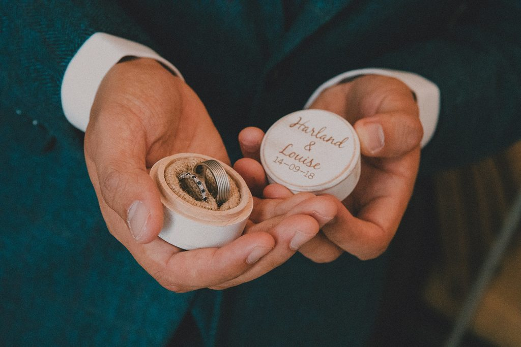 The wedding rings in a personalised box