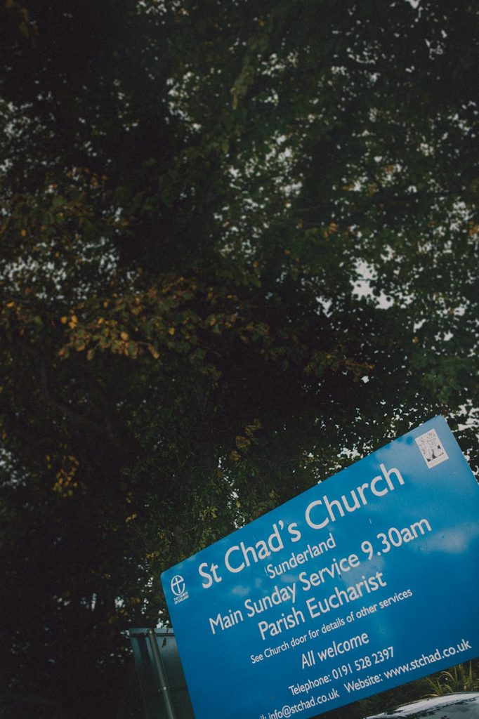 Sign outside St Chad's Church in Sunderland