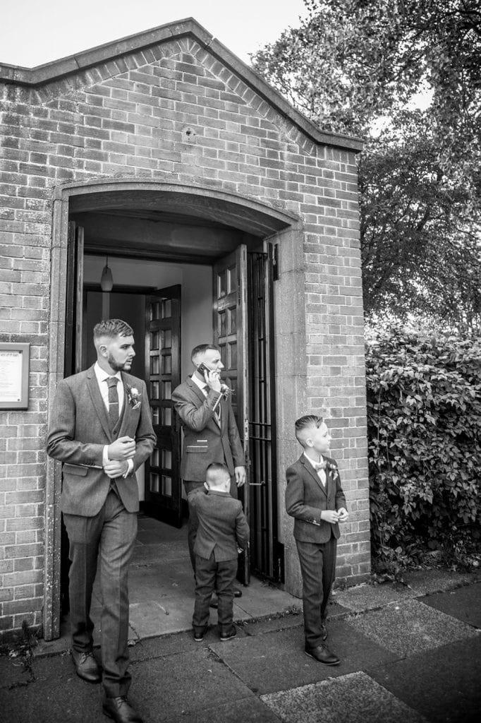 Groomsmen waiting at St Chad's Church in Sunderland