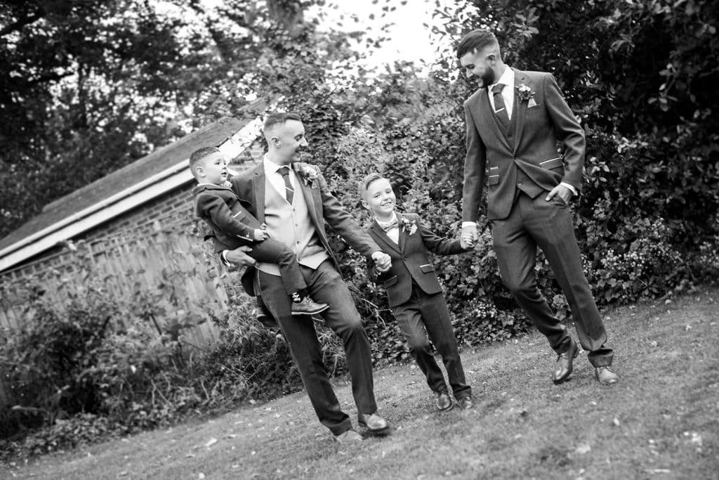 Groom, Bestman & Pageboys walking to St Chad's Church in Sunderland