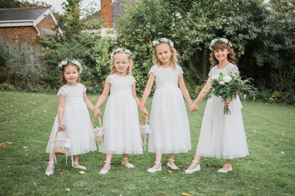 Bridesmaids & Flowergirls outside St Chad's Church in Sunderland