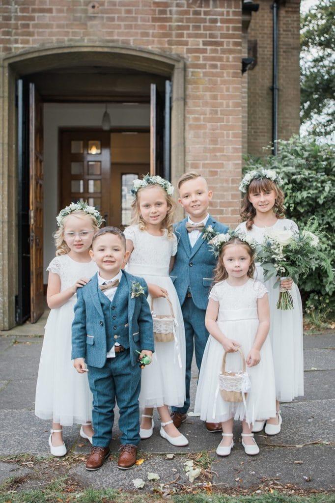 Bridesmaids, Flowergirls & Pageboys outside St Chad's Church in Sunderland