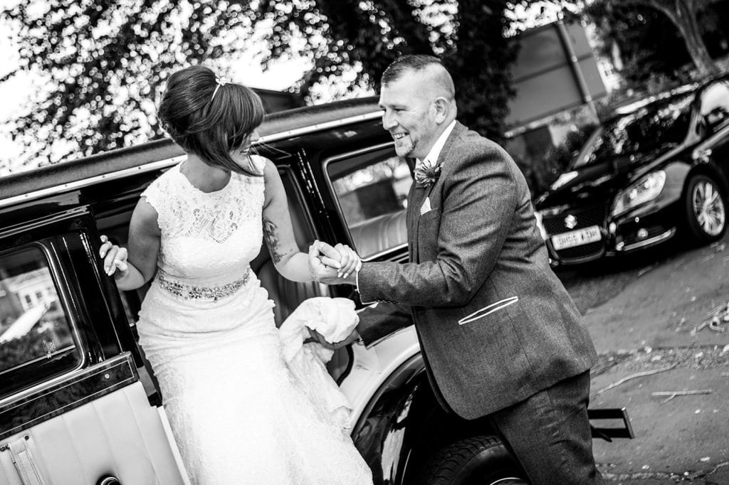 Bride arriving at St Chad's Church in Sunderland