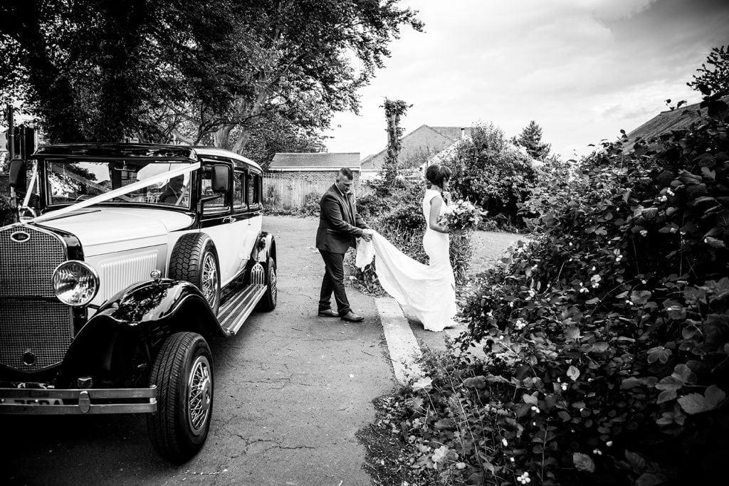 Bride walking to St Chad's Church in Sunderland