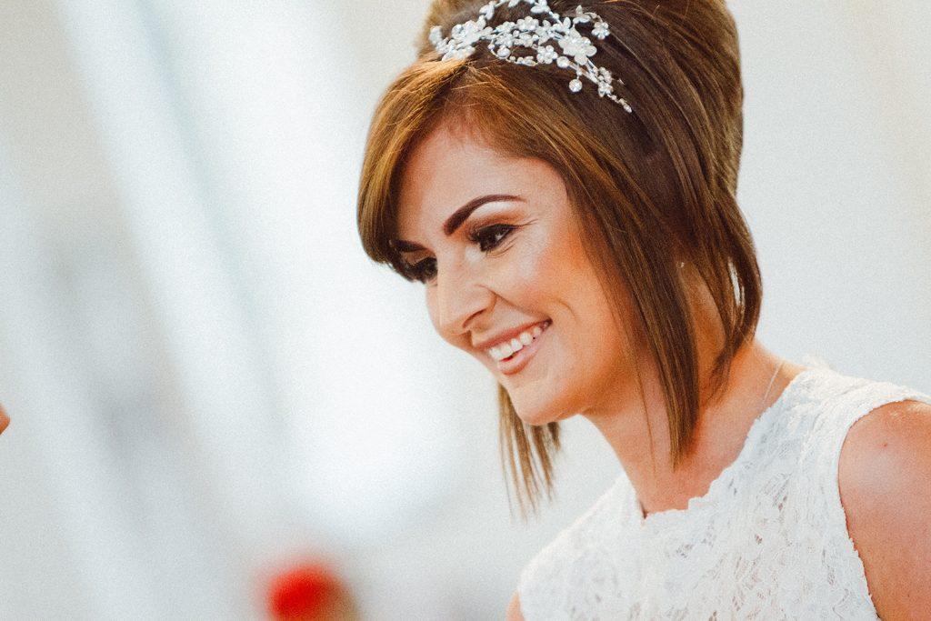 Close up of bride smiling