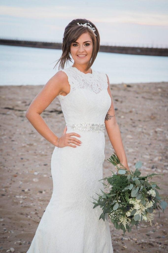 Bride posing on Sunderland Beach Front