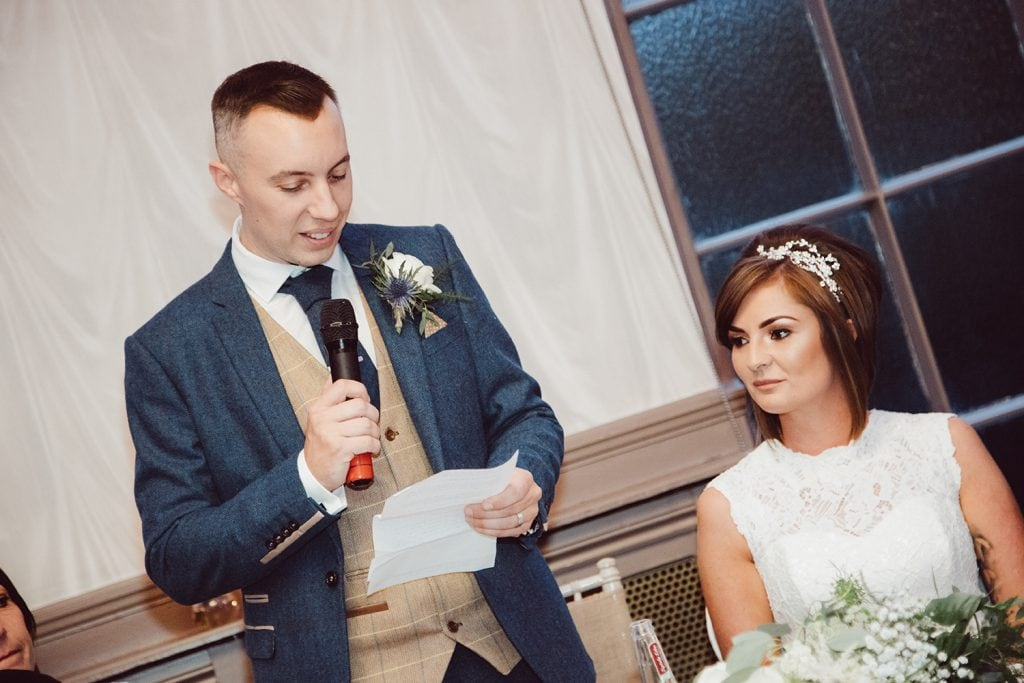 Bride watching the groom make his speech at The Roker Hotel in Sunderland