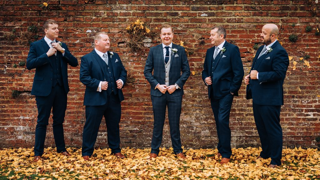 Grooms Men ready to go in the Grounds of Eshott Hall in Northumberland