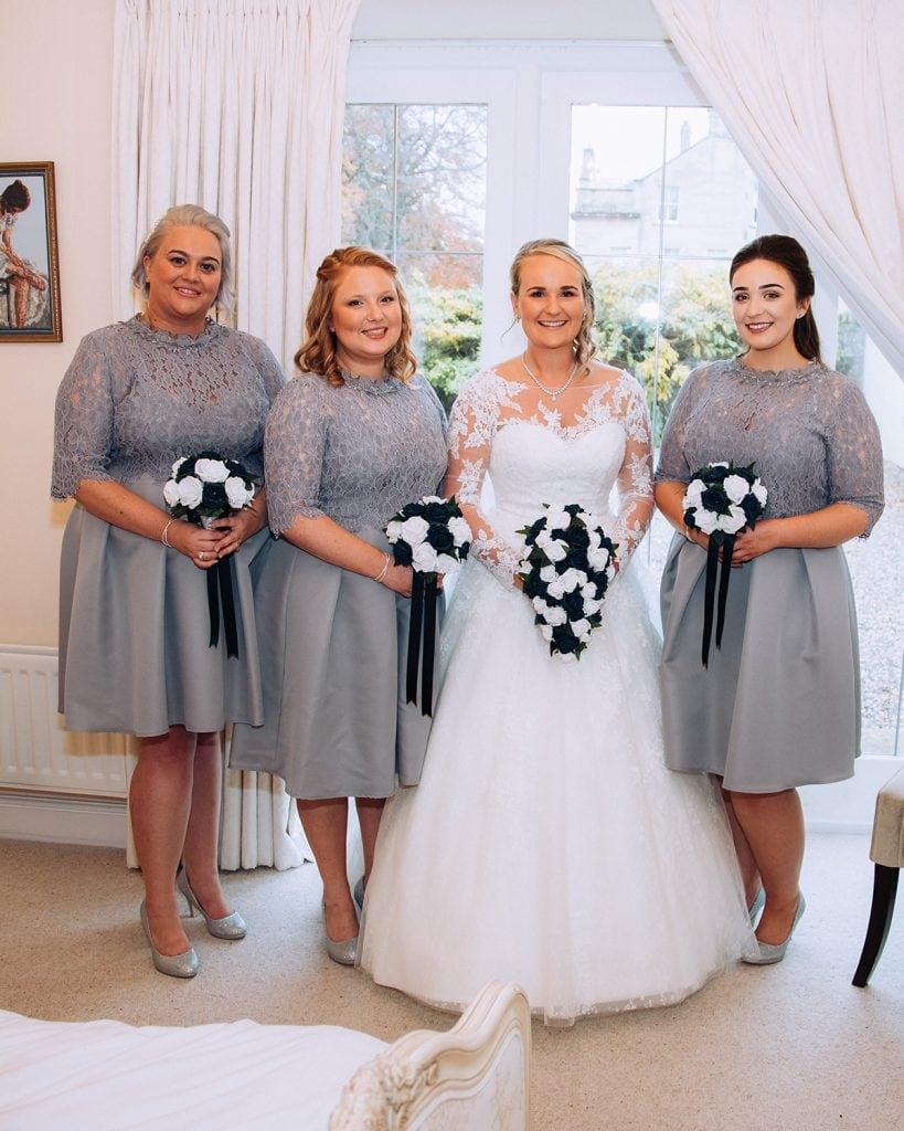Bride & Bridesmaids posing in their room at Eshott Hall, Northumberland