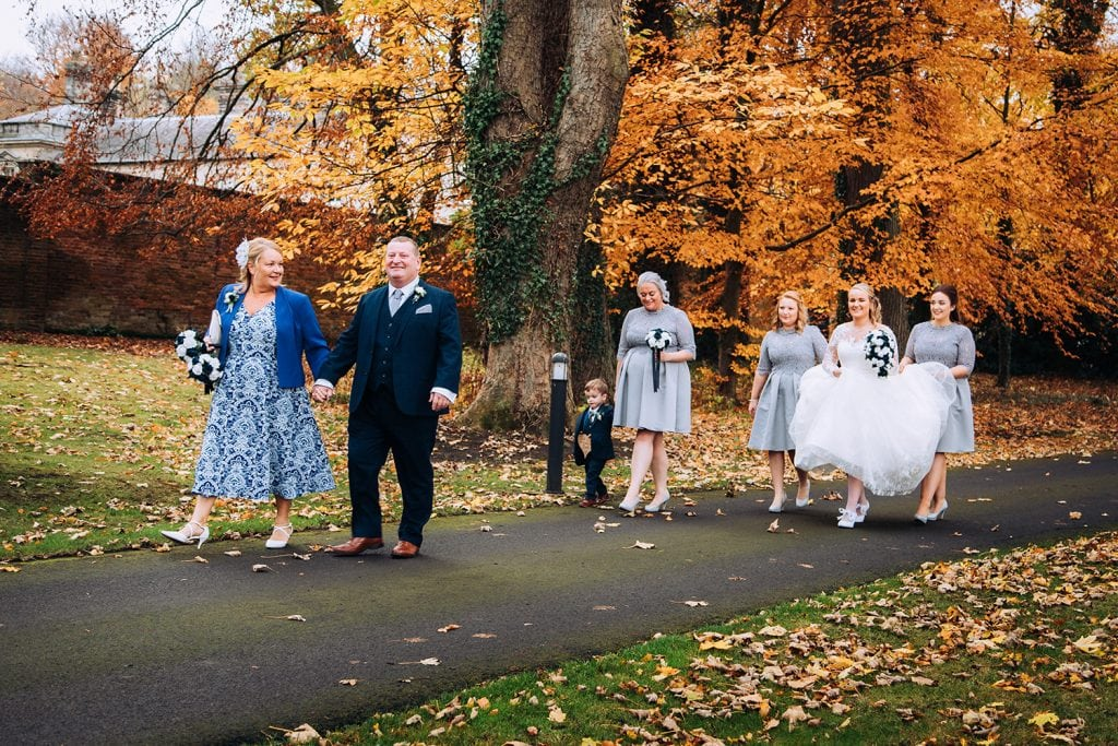 The Bridal Party walking to the Groom getting emotional as the bride walks up the aisle at the Reading Room in Eshott