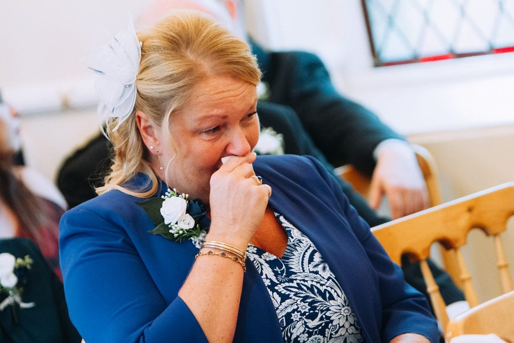 Brides mum emotional waiting for the Bride to arrive at the Reading Room in Eshott