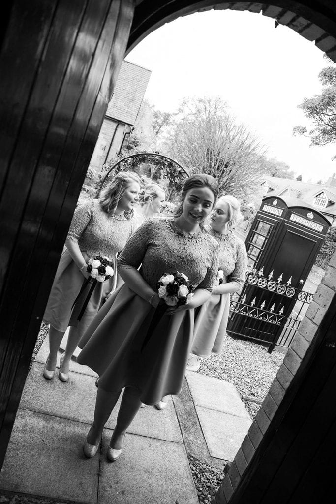 Girls waiting to enter the Reading Room in Eshott