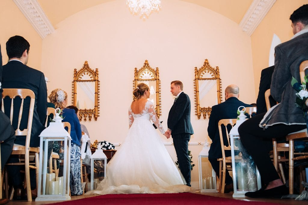 Bride & Groom during wedding service at the Reading Room in Eshott