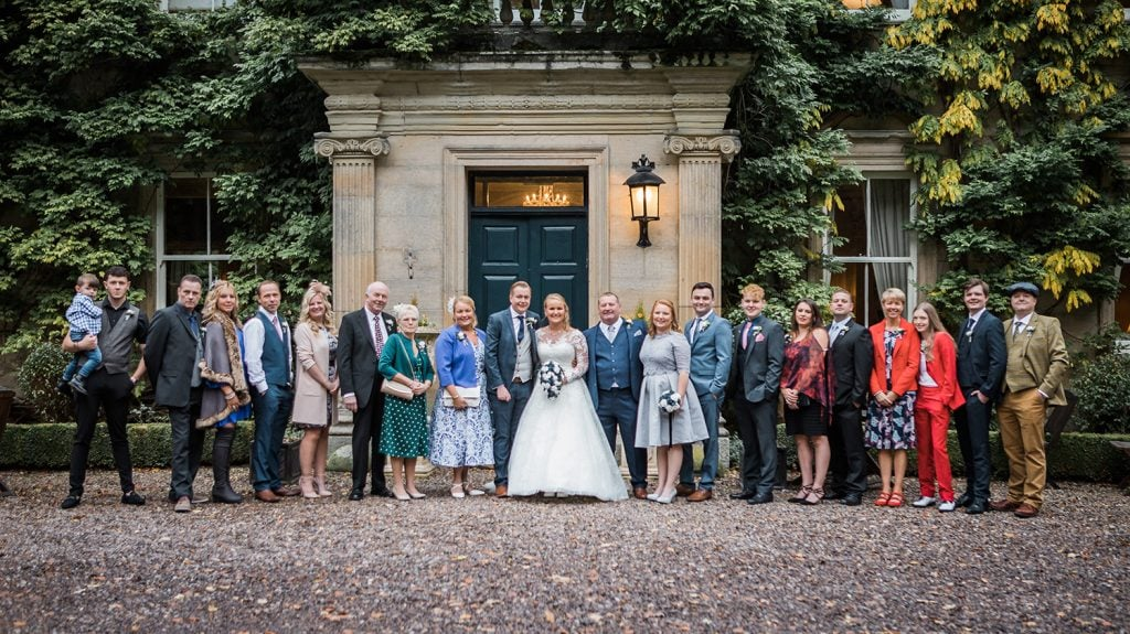Daniel with Karis & her Family in front of Eshott Hall, Northumberland
