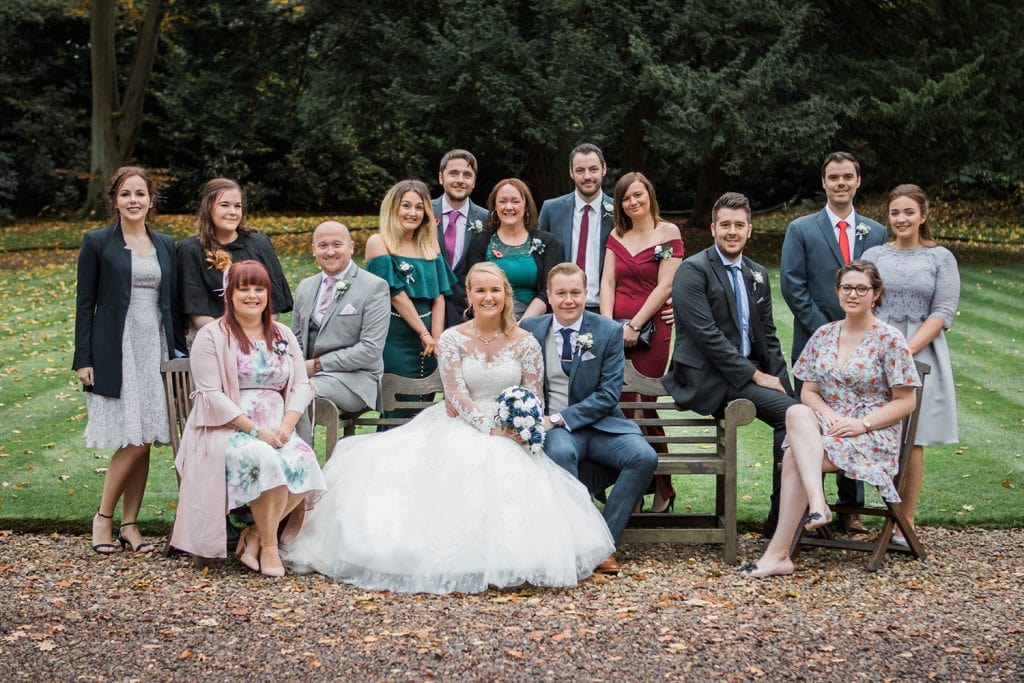 Bride & Groom with all of their friends at Eshott Hall, Northumberland
