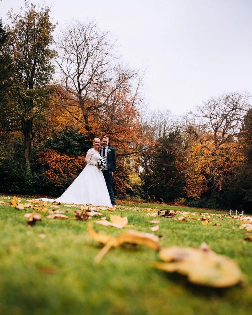 Bride & Groom in the grounds of Eshott Hall, Northumberland