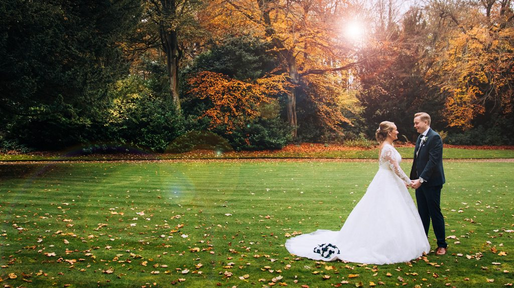 Bride & Groom in the Autumn sunshine at Eshott Hall, Northumberland