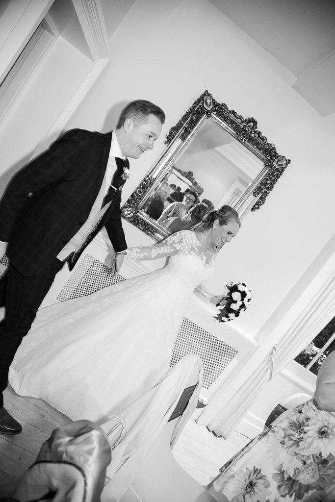 Bride and Groom entering the Ballroom at Eshott Hall, Northumberland