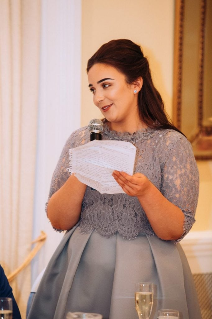 Maid of honor making her speech