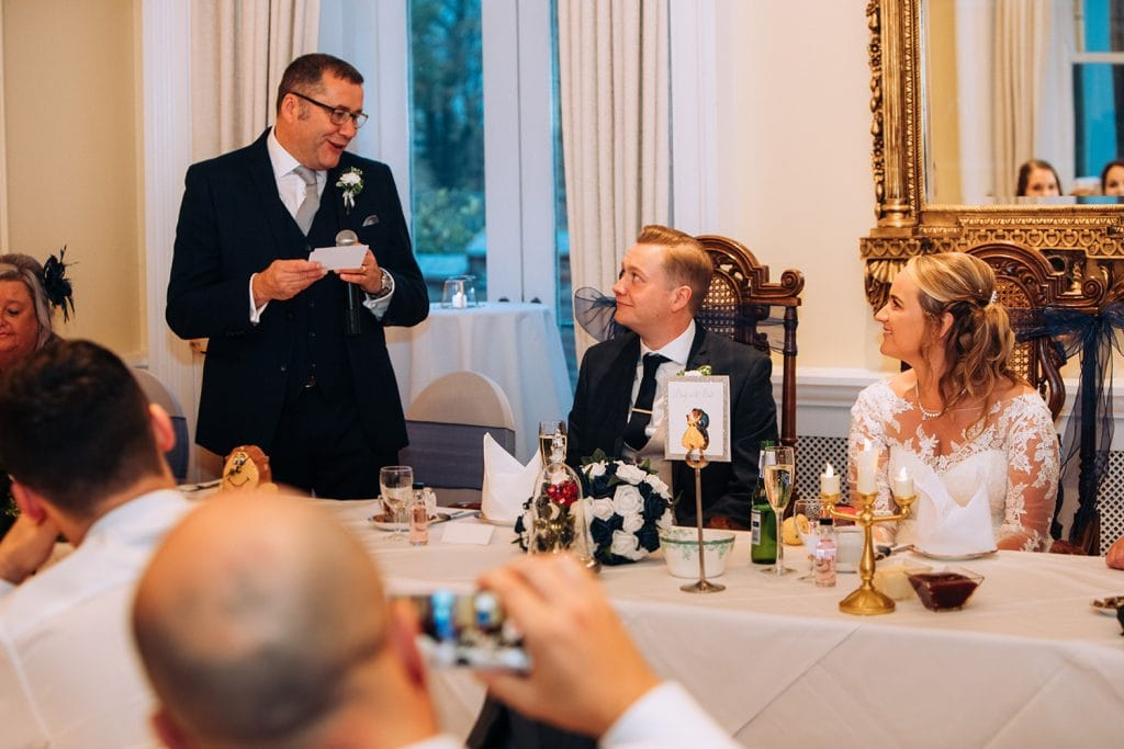 Father of the groom making his speech at Eshott Hall, Northumberland