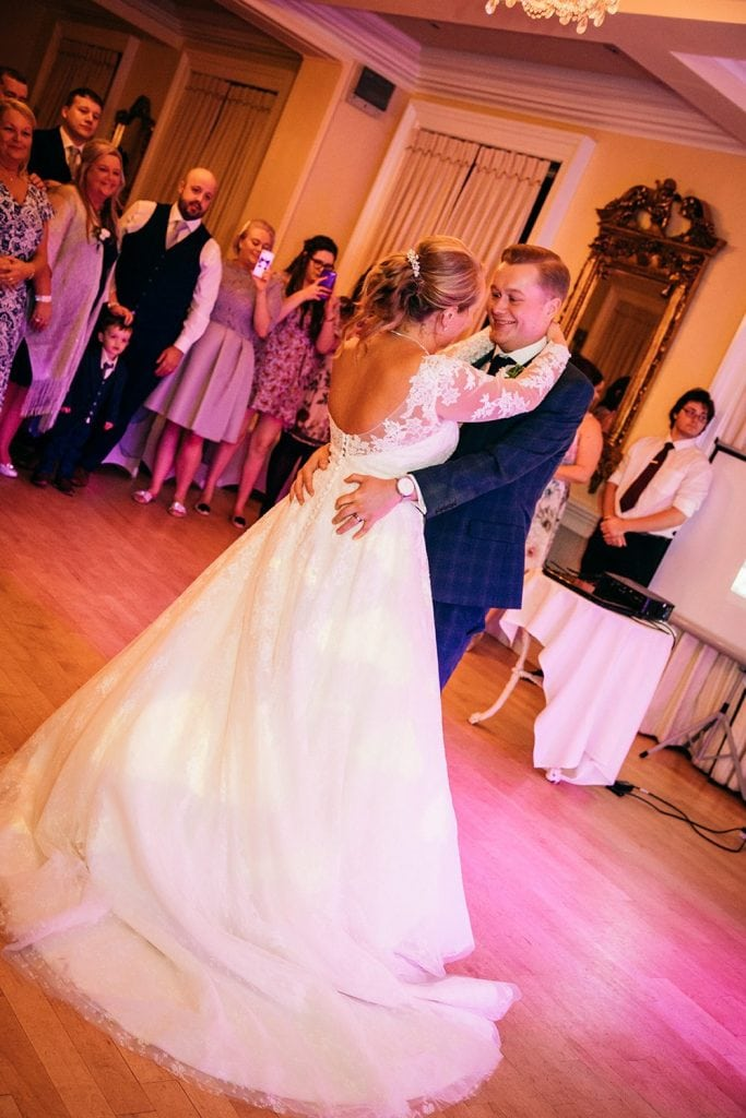 Guests watching the first dance at Eshott Hall, Northumberland