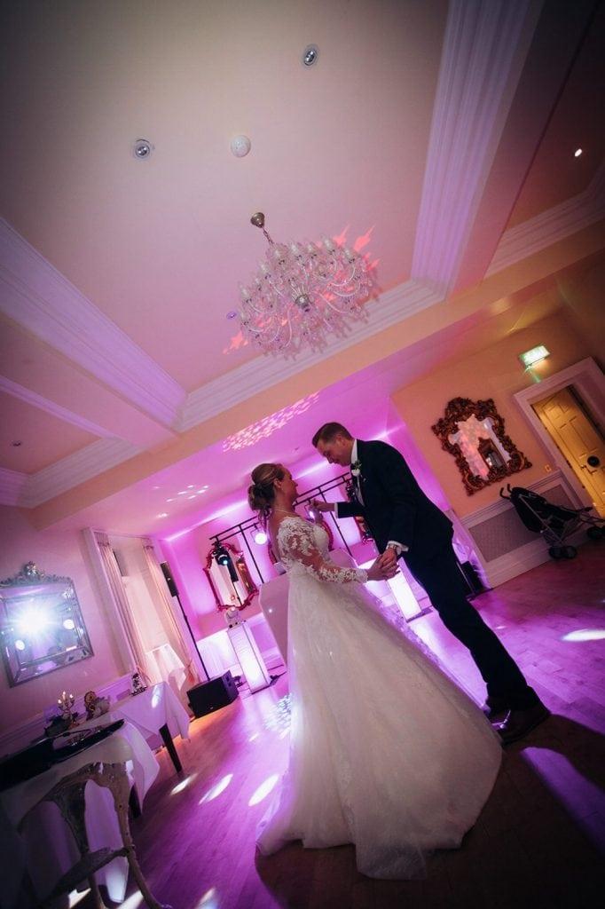 The bride & groom on the dance floor of Eshott Hall, Northumberland
