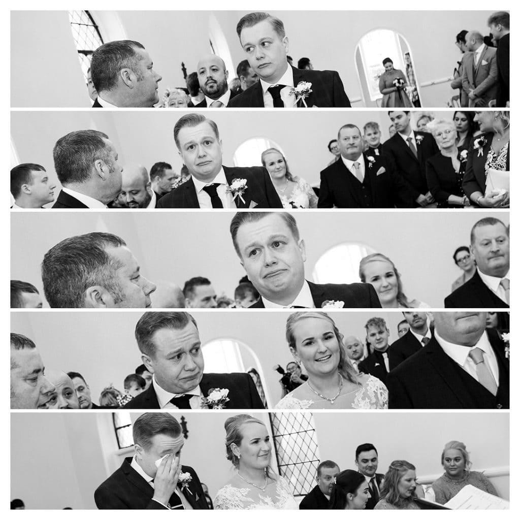 Emotional Groom at Eshott Wedding Chapel