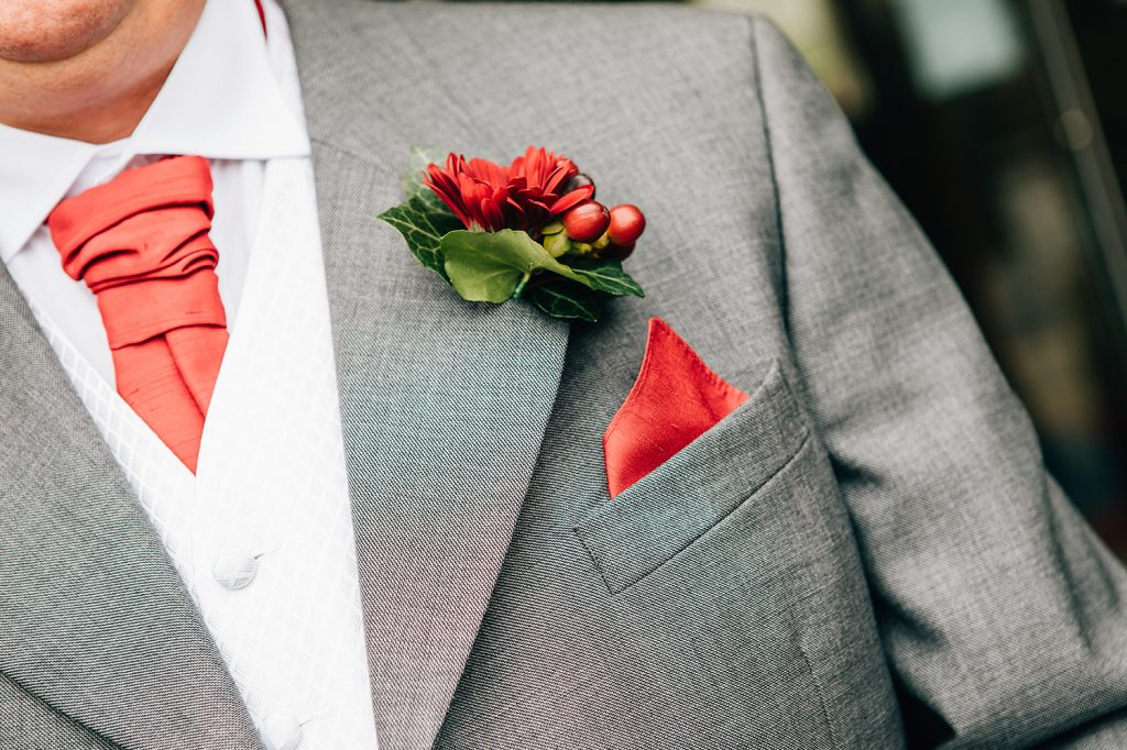 Grooms Buton Hole, Red Flower & Berries