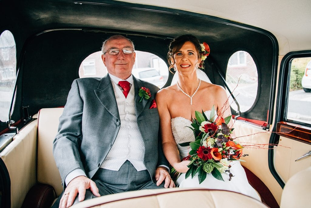 Bride & her Father in her wedding car