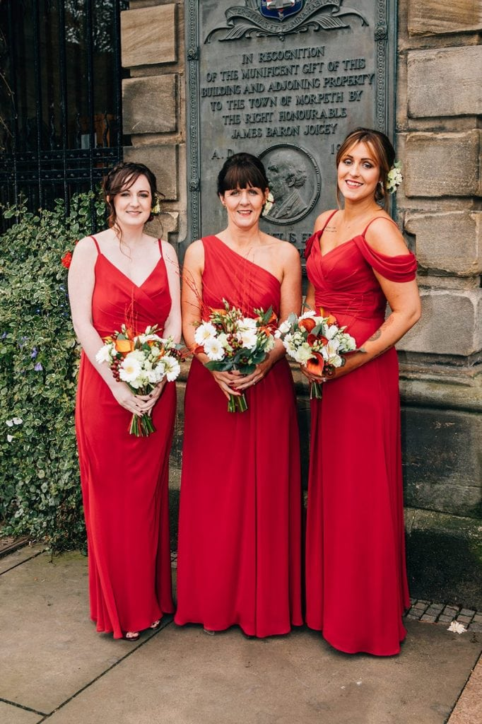 Bridesmaids outside of Morpeth Town Hall