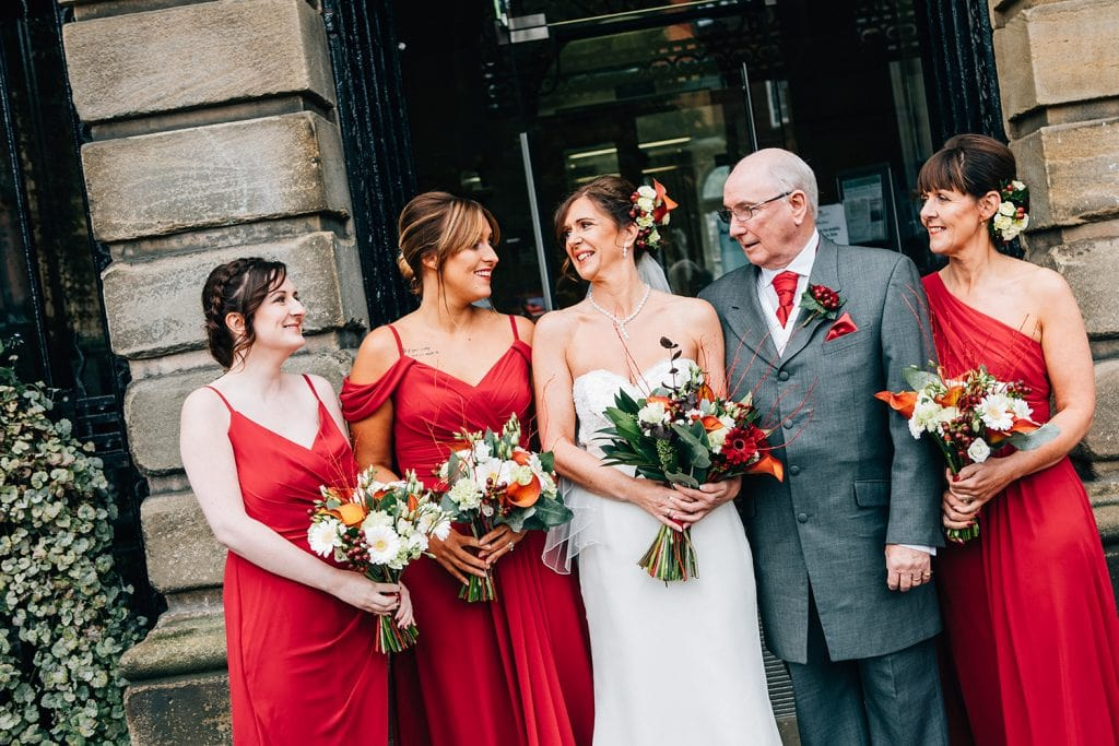 Brides wedding party outside Morpeth Town Hall