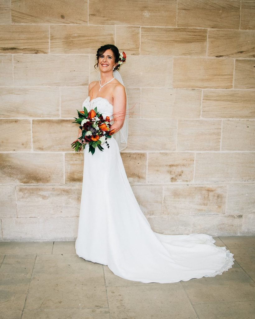 Full length of brides dress at Morpeth Town Hall