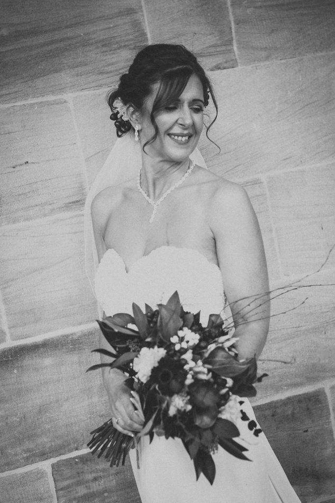 Bride posing in Morpeth Town Hall