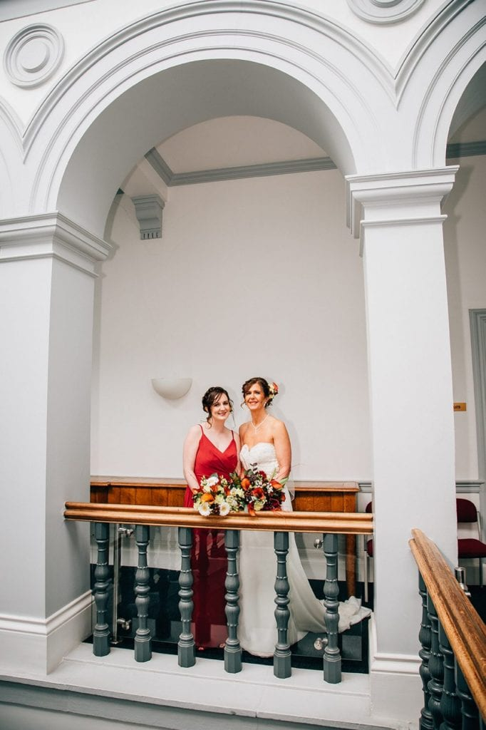 Bride & her daughter in the stairwell in Morpeth Town Hall