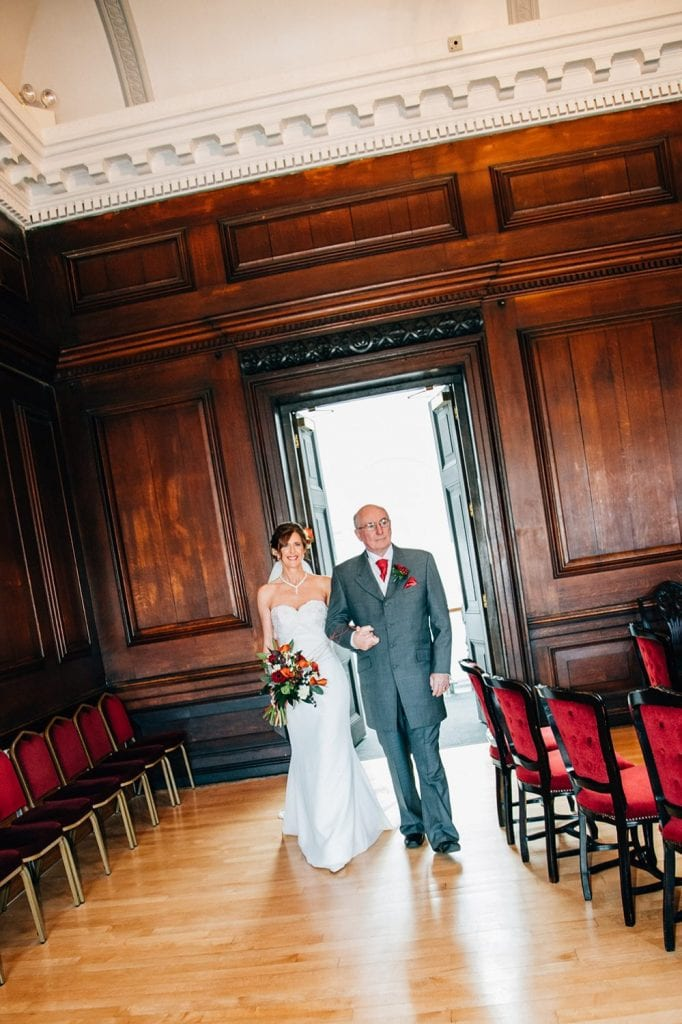Bride entering in the Ballroom, Morpeth Town Hall with her father