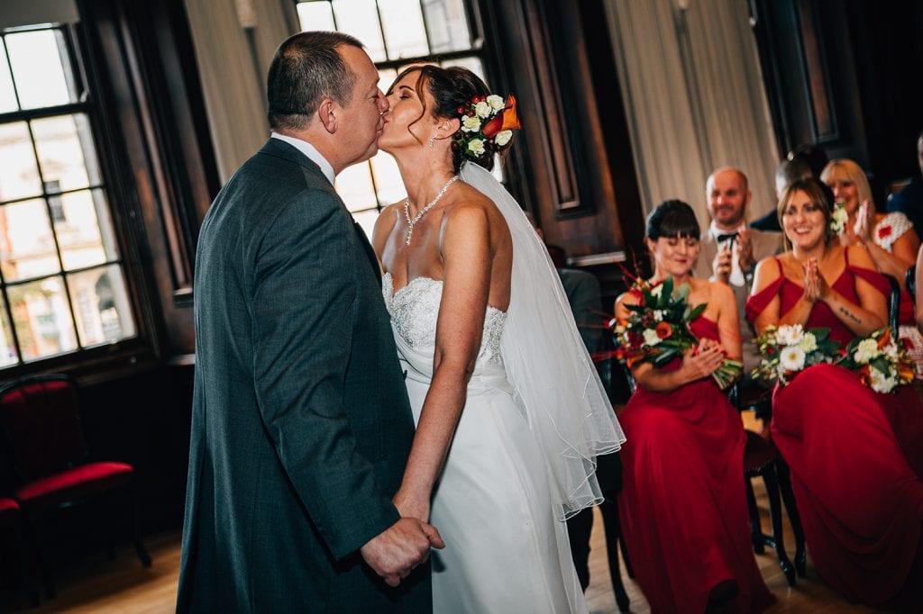 Bride & Groom kissing in the Ballroom, Morpeth Town Hall